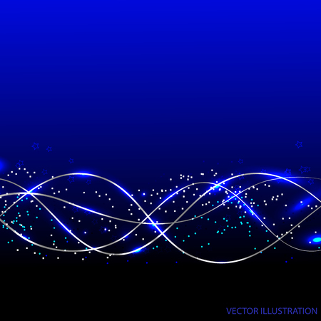 abstract waves background: Abstract waves background with lines and stars. Vector illustration in blue colors. Illustration