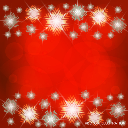 Background in bright colors with snowflakes and lights. Bright vector illustration in red and white colors. Illustration