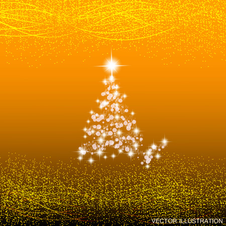 abstract yellow background with christmas tree waves and lights vector illustration in gold colors