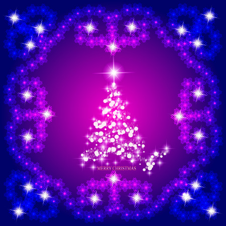 Abstract background with christmas tree, lines, stars and ornaments. Illustration in lilac and white colors.