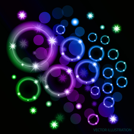 Abstract black background with ellipses. Illustration.