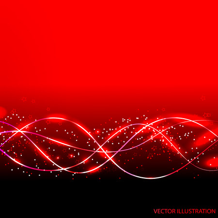 galactic: Abstract waves background in red colors. illustration