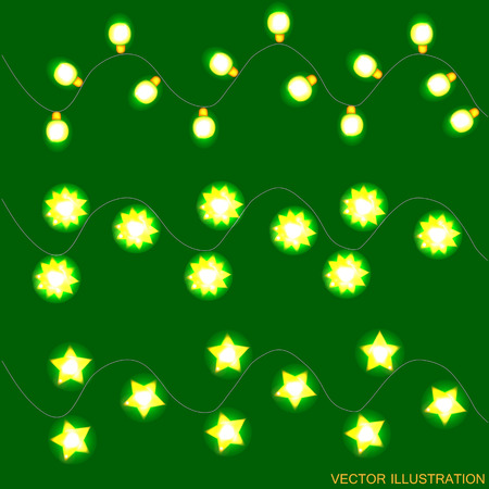Green background with yellow christmas lights. Vector illustration.
