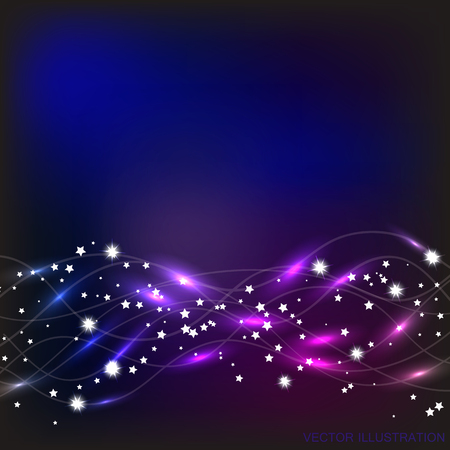 Abstract waves background in blue and lilac colors. Vector illustration