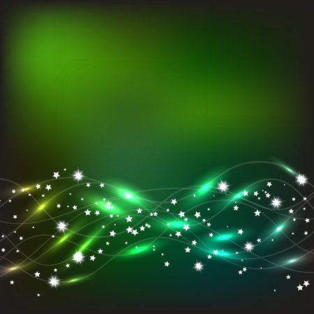 Abstract waves background in green and yellow colors. Illustration