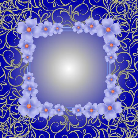 Blauwe achtergrond met rand en bloemen. Illustratie.