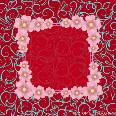 Background with flowers and ornaments in red colors. Vector illustration. Illustration