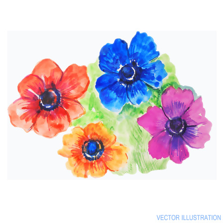 Bright summer background with painted flowers. The illustration is made in watercolor technique. Vector illustration.