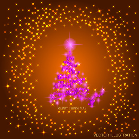Photo Stock Vector Abstract Gold Background With Pink Christmas Tree Lights And Stars Illustration In