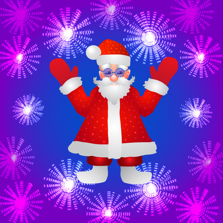 Background with a figure of Santa Claus with hands up on a blue background and stylized luminous flowers. Illustration.