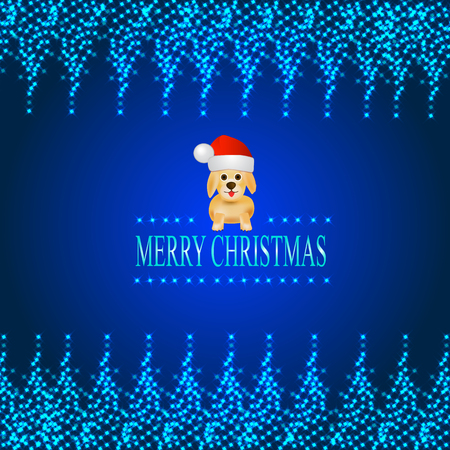 bright: Bright blue background with a dog in a Santa Claus hat. Illustration with luminous frame of stars.