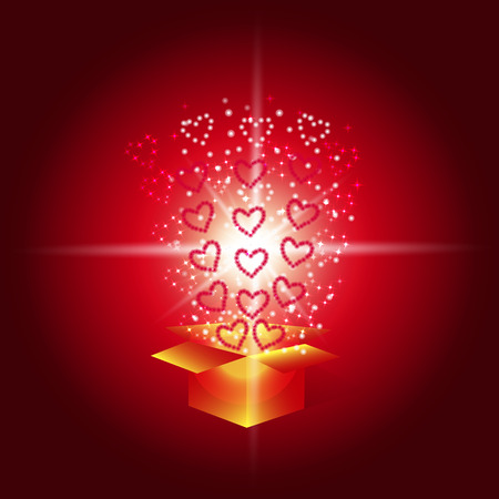 Gift box with red hearts. Magic background with a surprise. Fulfillment of desires. Illustration in red tones. For holidays Happy Valentines day , happy birthday, happy new year etc. Stock Photo