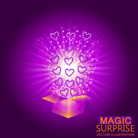 Gift box with red hearts. Magic background with a surprise. Fulfillment of desires. Vector illustration in violet tones. Illustration