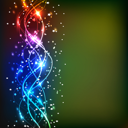 Energy of movement and beauty. Magic background. Abstract illustration in bright colors. Background with sparkling waves lines. Stock Photo