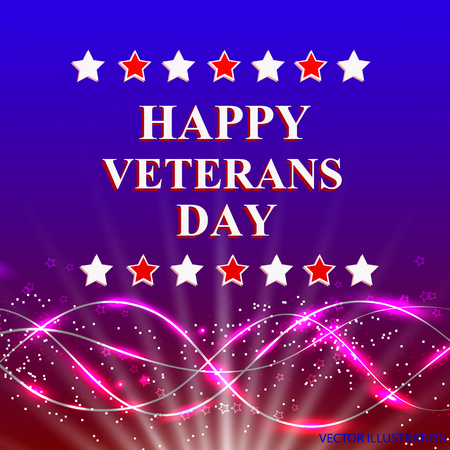 Veterans Day. Honoring all who served. Holiday USA on background with stars. Vector illustration. Illustration