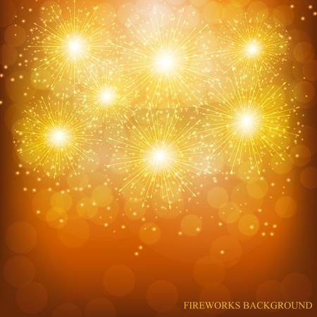 Brightly Colorful Fireworks. Holiday fireworks background. Illustration of Fireworks.