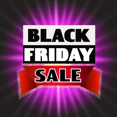 Bright background black friday. Dark web banner for black Friday sale. Concept of advertising for seasonal offer. Illustration.