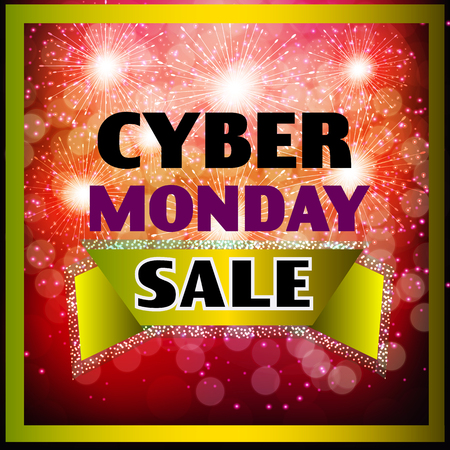 Bright background shop. Dark web banner for cyber Monday sale. Concept of advertising for seasonal offer . Illustration.