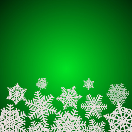 Green snowflakes background. Illustration.