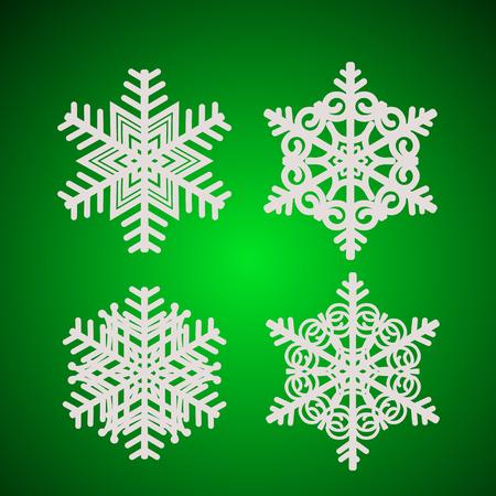 Set with white snowflakes. Illustration.