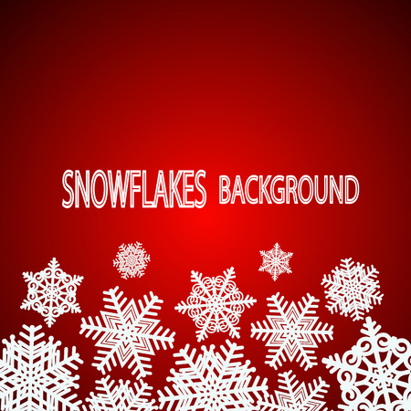 Red snowflakes background. Vector Illustration.