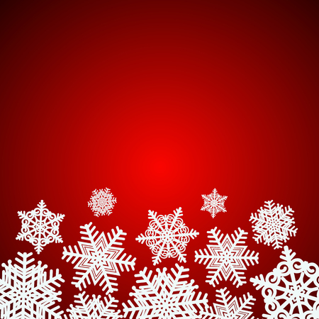 Red snowflakes background. Illustration.