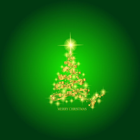 Abstract background with gold christmas tree and stars. Illustration in green and gold colors. Foto de archivo - 91356003