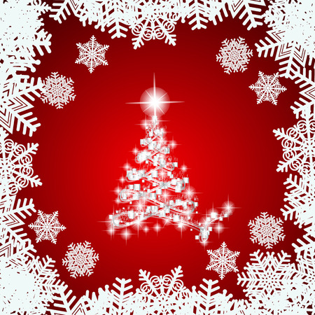 Abstract Background With White Christmas Tree Snowflakes And Stars Illustration In Red