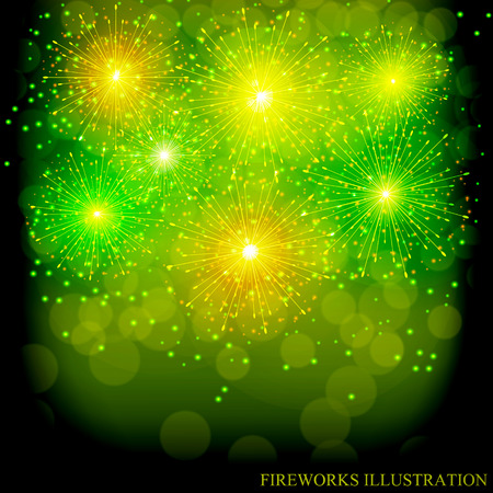 Brightly Colorful Fireworks. Green illustration of Fireworks. Holiday fireworks background.