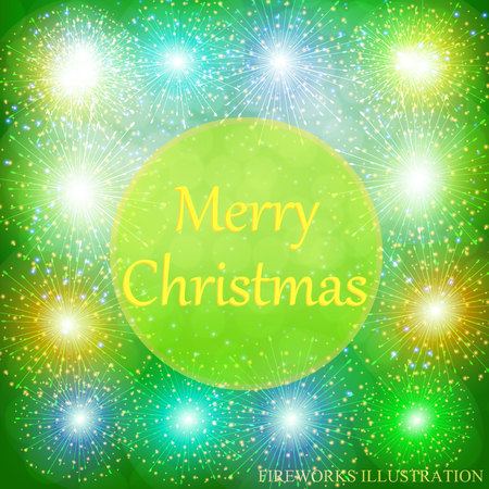 Brightly Colorful Fireworks. Green illustration of Fireworks. Holiday fireworks background. Merry christmas illustration.