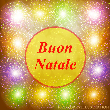 Buon Natale greeting card. Brightly Colorful Fireworks. Holiday fireworks background. Gold of Fireworks. Merry christmas vector illustration. Illustration