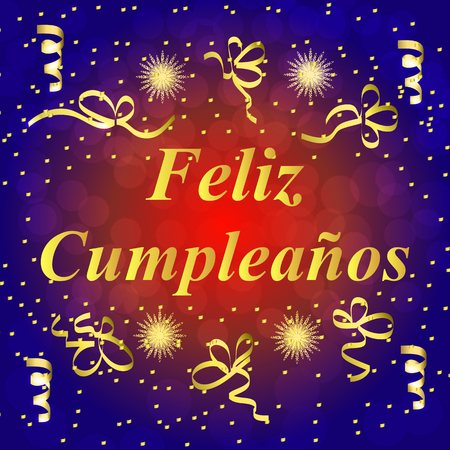 Happy Birthday In Spanish Greeting Card Brightly Colorful