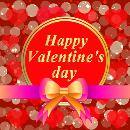 Happy valentines day greeting card. Brightly Colorful illustration. Typography design for greeting cards and poster with red hearts . Template for Valentines day celebration.