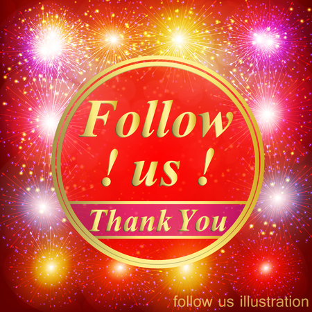 Followers background. Follow us illustration with thank you on a ribbon.