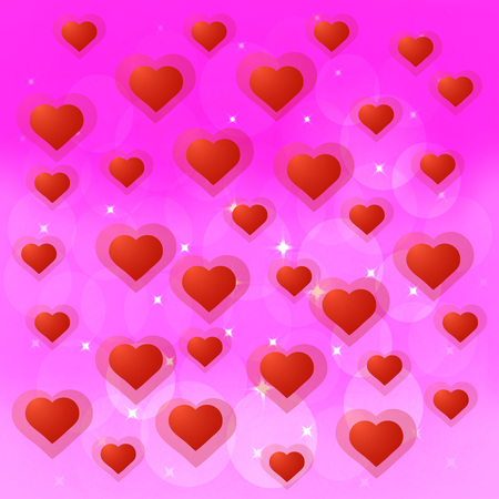 Brightly Colorful illustration with hearts. Background design for greeting cards and poster with red hearts . Stock Photo