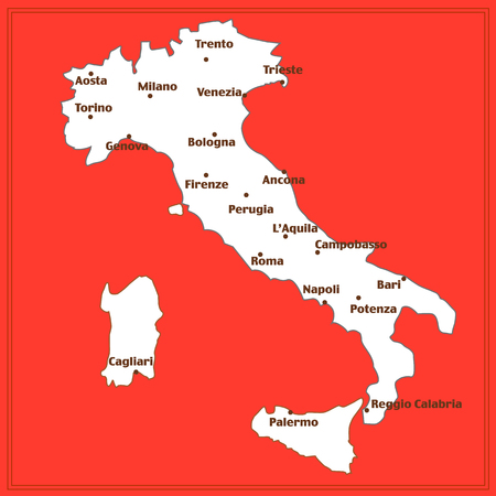 Map of Italy with red background. Italy map with italian big cities. Illustration.