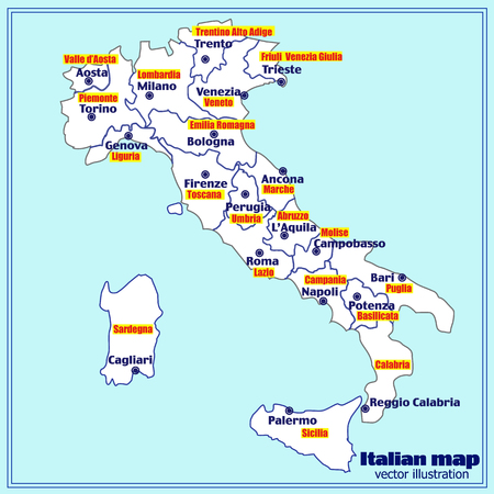 Map of Italy. Bright illustration with map. Illustration with blue background. Italy map with Italian major cities and regions. Vector illustration. Illustration