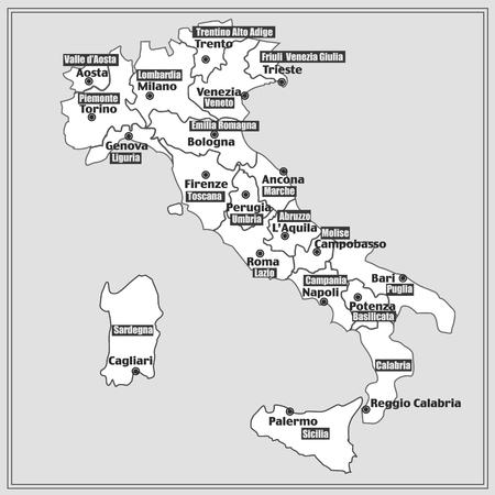 Italien Karte Mit Italienischen Regionen Lizenzfreie Fotos Bilder