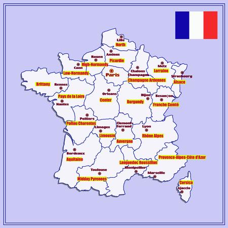 Frankreich Karte Regionen.Karte Von Frankreich Mit Französischen Regionen Lizenzfreie Fotos
