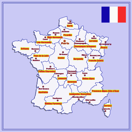 Map Of France With French Regions Stock Photo Picture And Royalty - Map of france in french