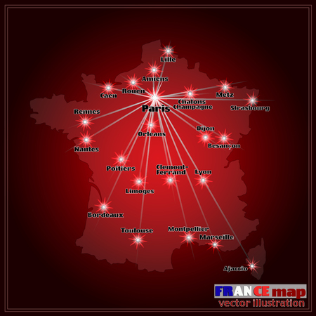 Map of france with cities. Bright illustration with map. Illustration with night background. Vector illustration. Illustration