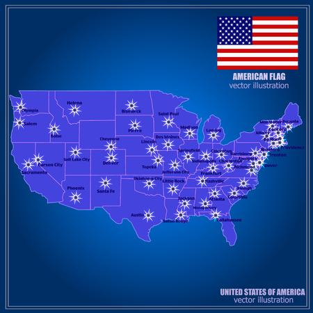 United States of America Vector Map. Illustration.  イラスト・ベクター素材