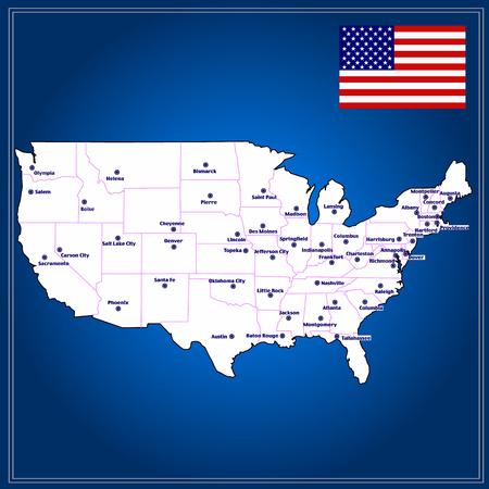 United States of America Map. Illustration.
