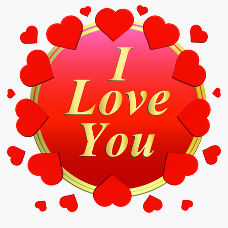 I love you greeting card. Brightly Colorful illustration. Typography design for greeting cards and poster with red hearts. Template for celebration.