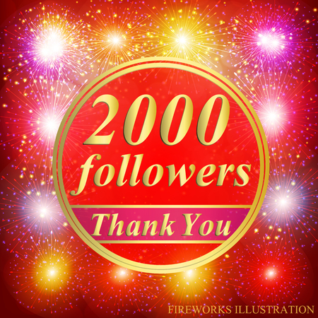 Bright followers background. 2000 followers illustration with thank you on a ribbon. Vector illustration. Illustration