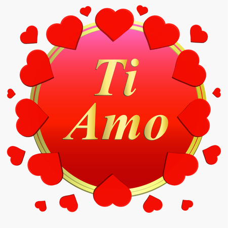 Ti amo greeting card. Brightly Colorful Illustration. Typography design for greeting cards and poster with red hearts. Design template. Stock fotó