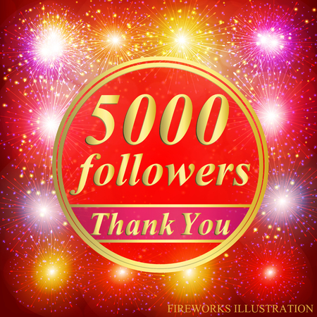 Bright followers background. 5000 followers illustration with thank you on a ribbon. Vector illustration.