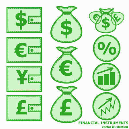 Financial instruments for saving money. Vector illustration in green colors.