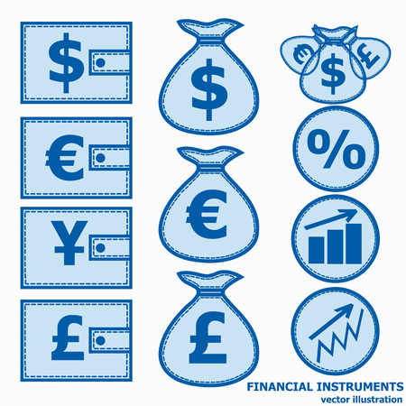 Financial instruments for saving money. Vector illustration in blue colors.
