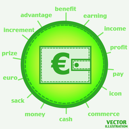 Illustration with wallet. Wallet with euro. Bright infographic illustration